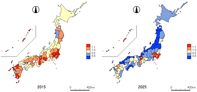 Figure 4. Changes in the Number of Employees by Prefecture