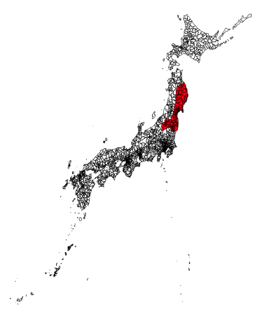 Figure 1. Areas Damaged by the Great East Japan Earthquake