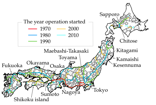 Figure 4. Development of the Highway Network in Japan