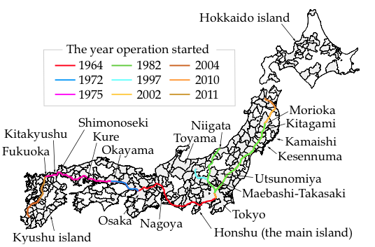 Figure 5. Development of the High-Speed Railway Network in Japan