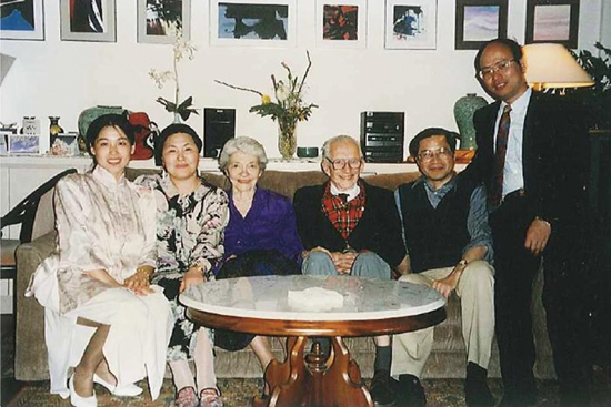 From right to left: Yang Kaizhong, Masahisa Fujita, Walter Isard, Mrs. Caroline Isard (Walter's wife), Mrs. Yuko Fujita (Masahisa's wife), Mrs. Yang (Kaizhong's wife) at Masahisa's home in 1993
