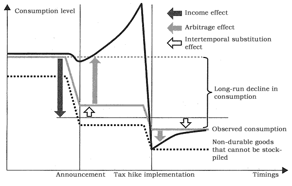 Figure: Three Effects through which the Consumption Tax Rate Hike May Affect Consumption