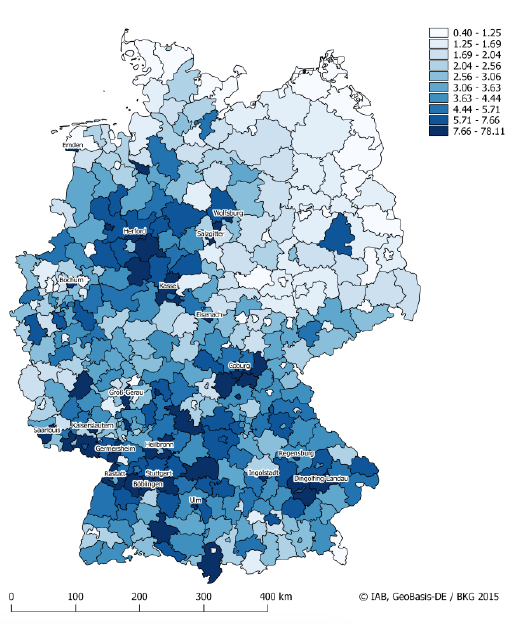 Figure 2. Robot Exposure Across Local Labour Markets in Germany, 1994-2014