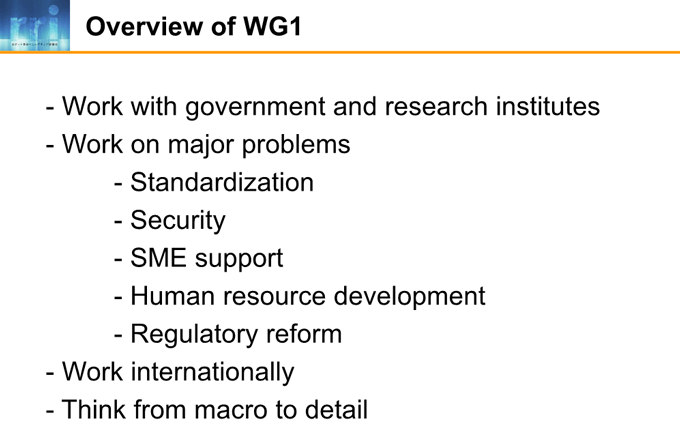 図2-3:Overview of WG1