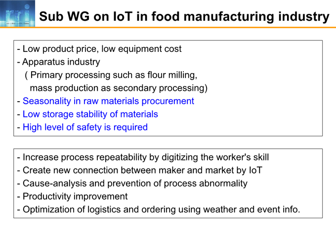 図4-2:Sub WG on IoT in food manufacturing industry